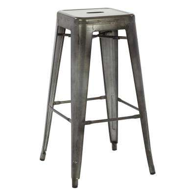 Bristow 30 in. Matte Galvanized Antique Metal Barstool 2-Pack