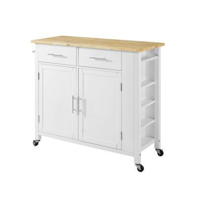 Savannah White Full-Size Kitchen Island with Wood Top