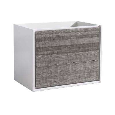 Catania 30 in. Modern Wall Hung Bath Vanity Cabinet Only in Glossy Ash Gray