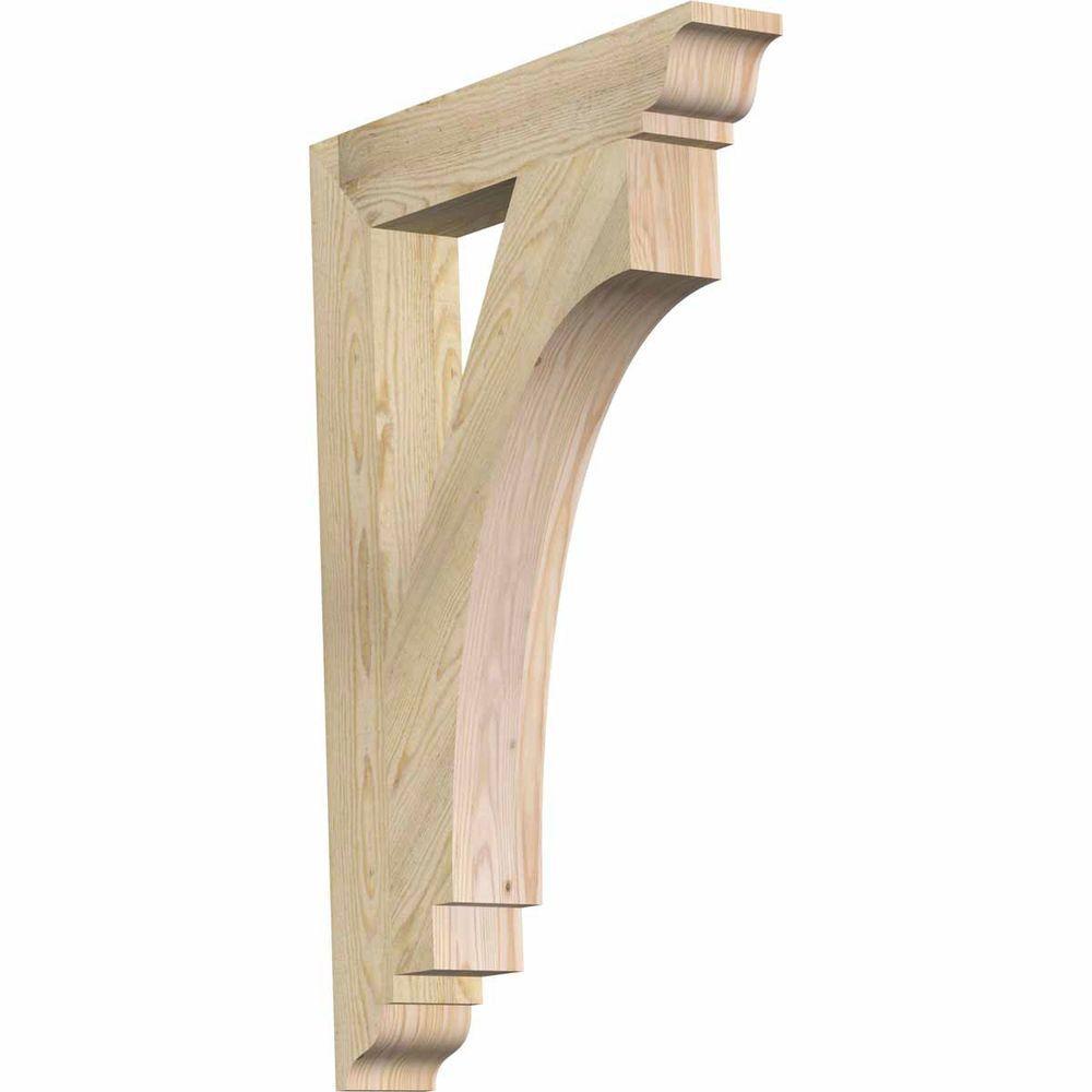 Ekena Millwork 4 in. x 36 in. x 24 in. Douglas Fir Imperial Traditional Rough Sawn Bracket
