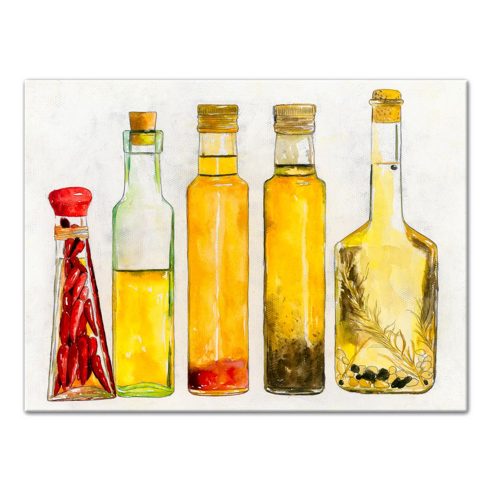 DESIGNS DIRECT 12 in. x 16 in. \'\'Olive Oil Bottles\'\' Printed Canvas ...