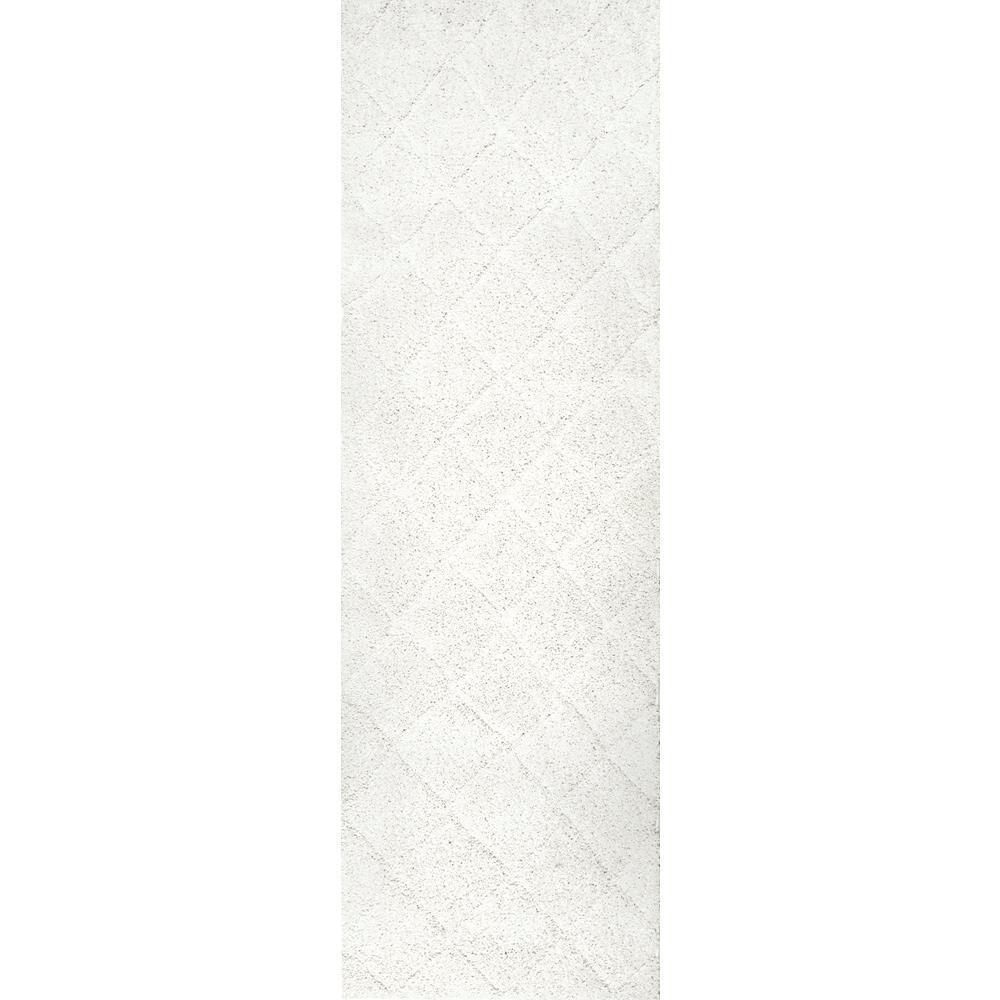Deloise Trellis Shag White 3 ft. x 8 ft. Runner Rug