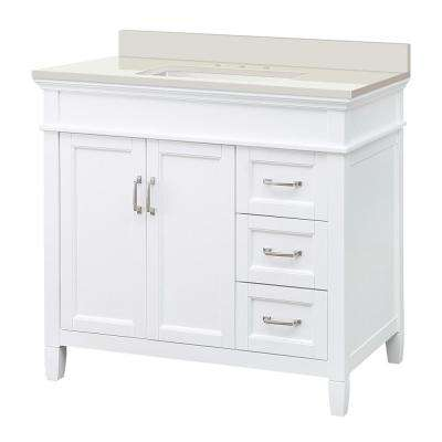 Ashburn 37 in. W x 22 in. D Vanity in White with Engineered Marble Vanity Top in Winter White with White Sink