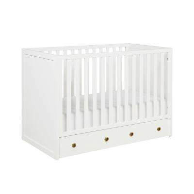 Rue 3-in-1 White Convertible Baby Crib with Storage Drawer