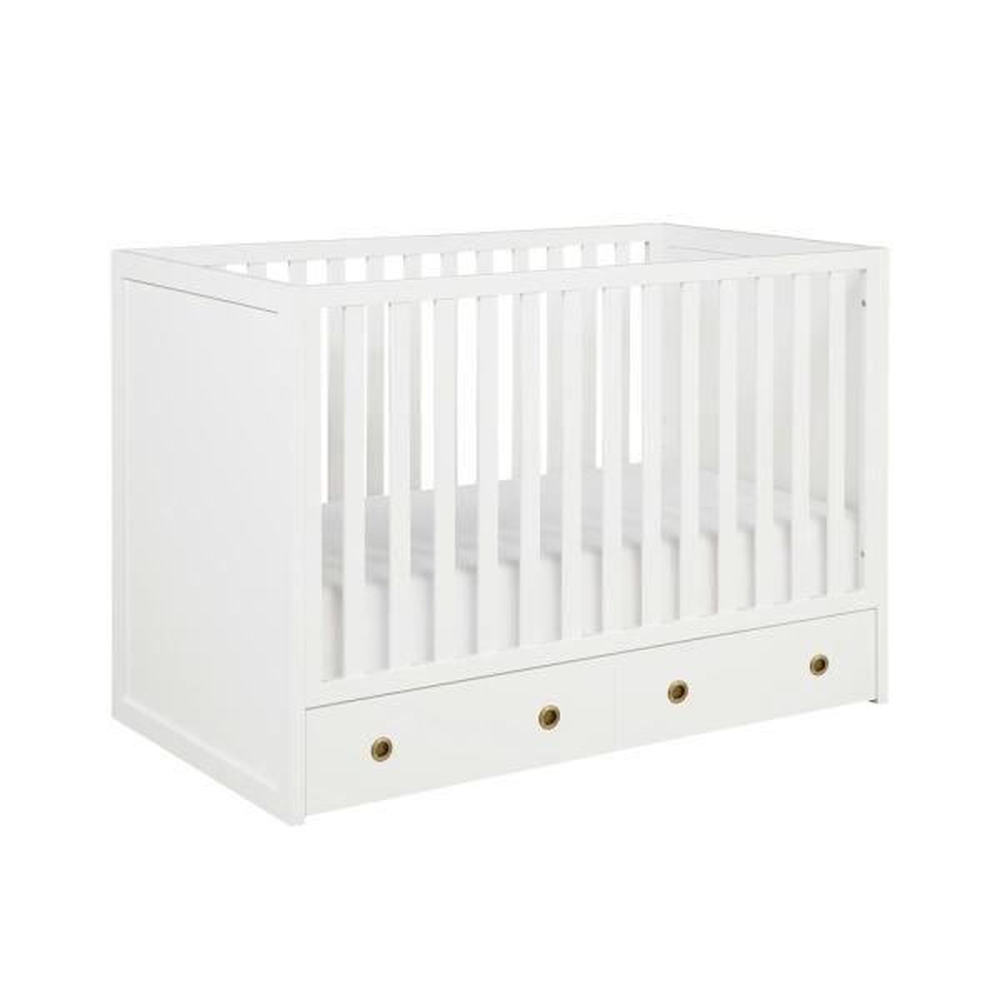 Novogratz Rue 3-in-1 White Convertible Baby Crib with ...