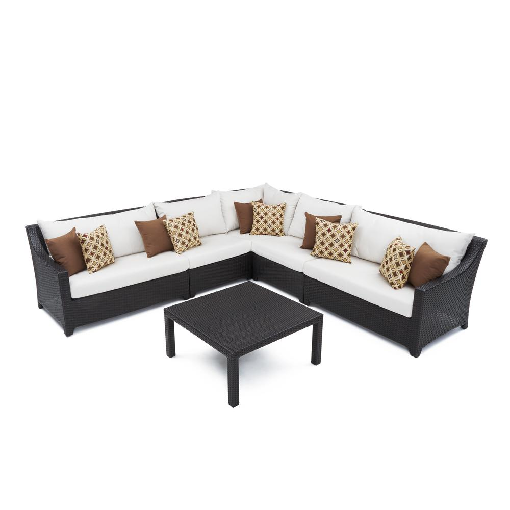 RST Brands Deco 6-Piece Wicker Patio Corner Sectional Set with Moroccan Cream Cushions