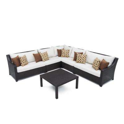 Deco 6-Piece Wicker Patio Corner Sectional Set with Moroccan Cream Cushions