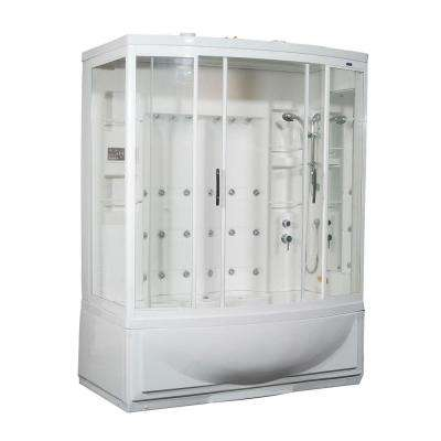 ZAA210 68 in. x 41 in. x 86 in. Steam Shower Right Hand Enclosure Kit with Whirlpool Bath in White