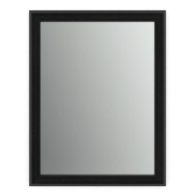 23 in. W x 33 in. H (S2) Framed Rectangular Standard Glass Bathroom Vanity Mirror in Matte Black