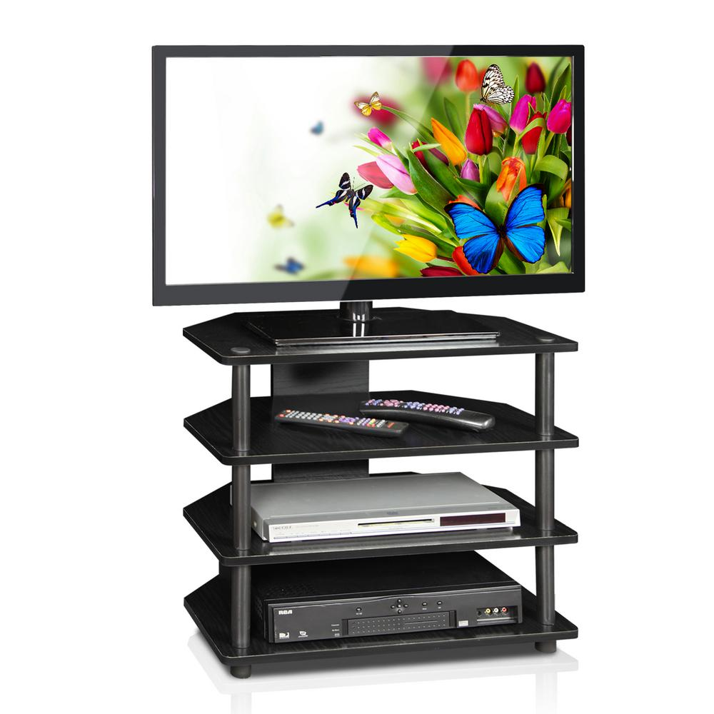 Furinno Turn N Blackwood 4 Tier Pee Tv Stand 15093bw Bk The Home Depot