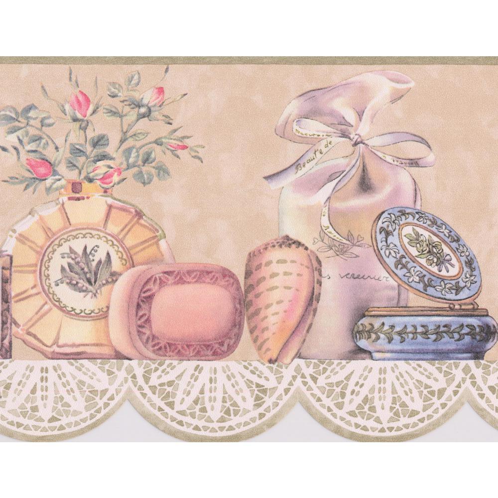 Vintage Powder Table Soap Cream Perfume Seashell Scalloped Fashion Prepasted Wallpaper Border