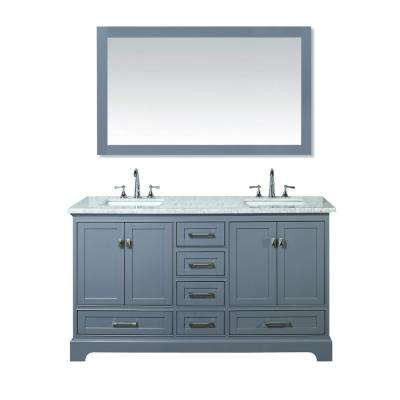Newport 60 in. W x 22 in. D Vanity in Gray with Marble Vanity Top in Carrara White and Mirror