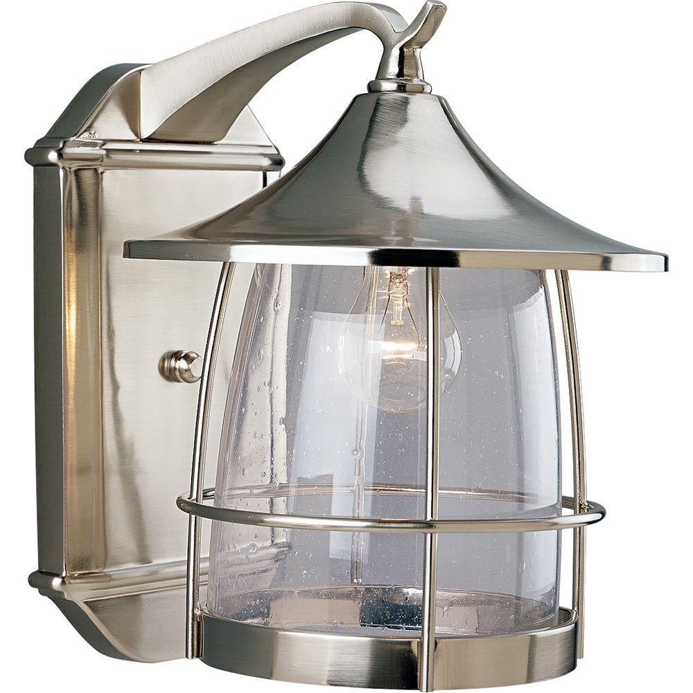 Progress Lighting Prairie 1 Light Outdoor Brushed Nickel Wall Lantern P5764 09
