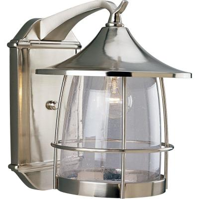 Prairie 1-Light 13.5 in. Outdoor Brushed Nickel Wall Lantern Sconce