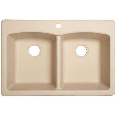 Ellipse Dual-Mount Granite 33 in. 4-Hole Double Bowl Kitchen Sink in Off-White/Beige
