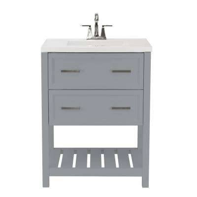 Milan 25 in. Bath Vanity in Grey with Cultured Marble Vanity Top in White with White Basin