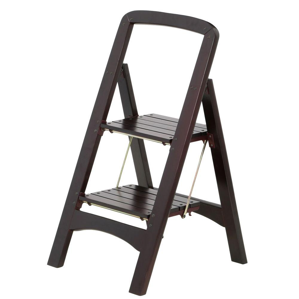 Rockford Series 2-Step Mahogany Step Stool Ladder 225 lb. Load Capacity