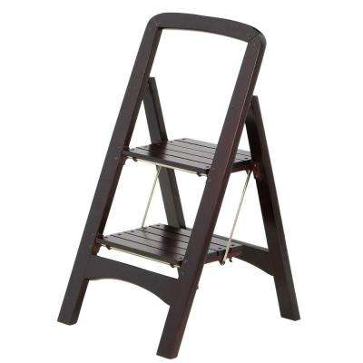 Rockford Series 2-Step Mahogany Step Stool Ladder 225 lb. Load Capacity Type II Duty Rating