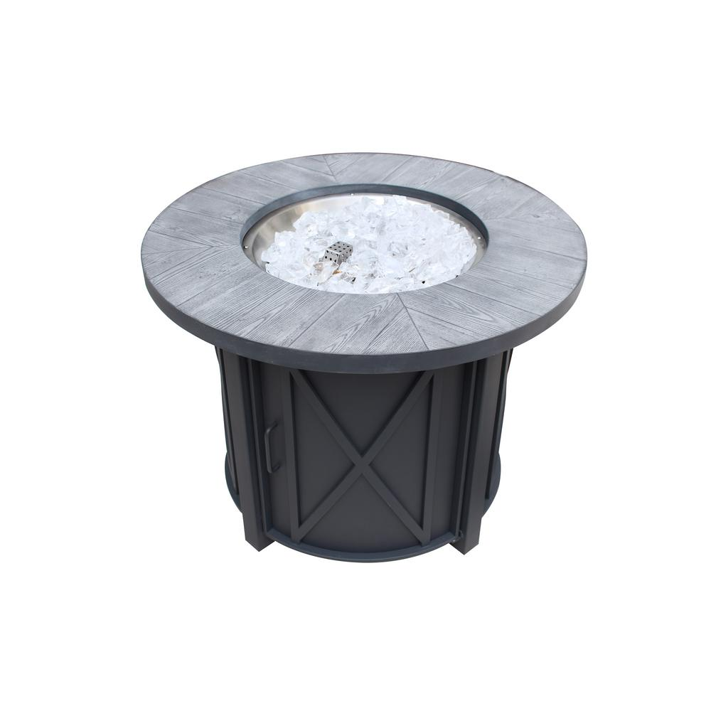 Hampton bay park canyon 35 in x 26 in round steel propane fire pit