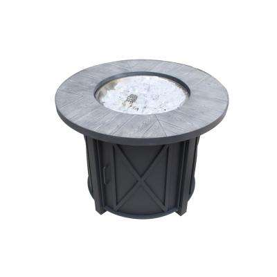 Park Canyon 35 in. x 26 in. Round Steel Propane Fire Pit kit in Black
