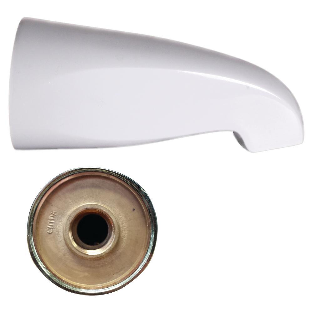 5-1/2 in. Brass Standard Tub Spout in White