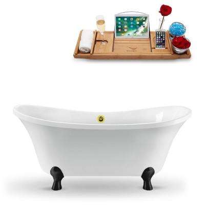 60 in. Acrylic Fiberglass Clawfoot Non-Whirlpool Bathtub in White