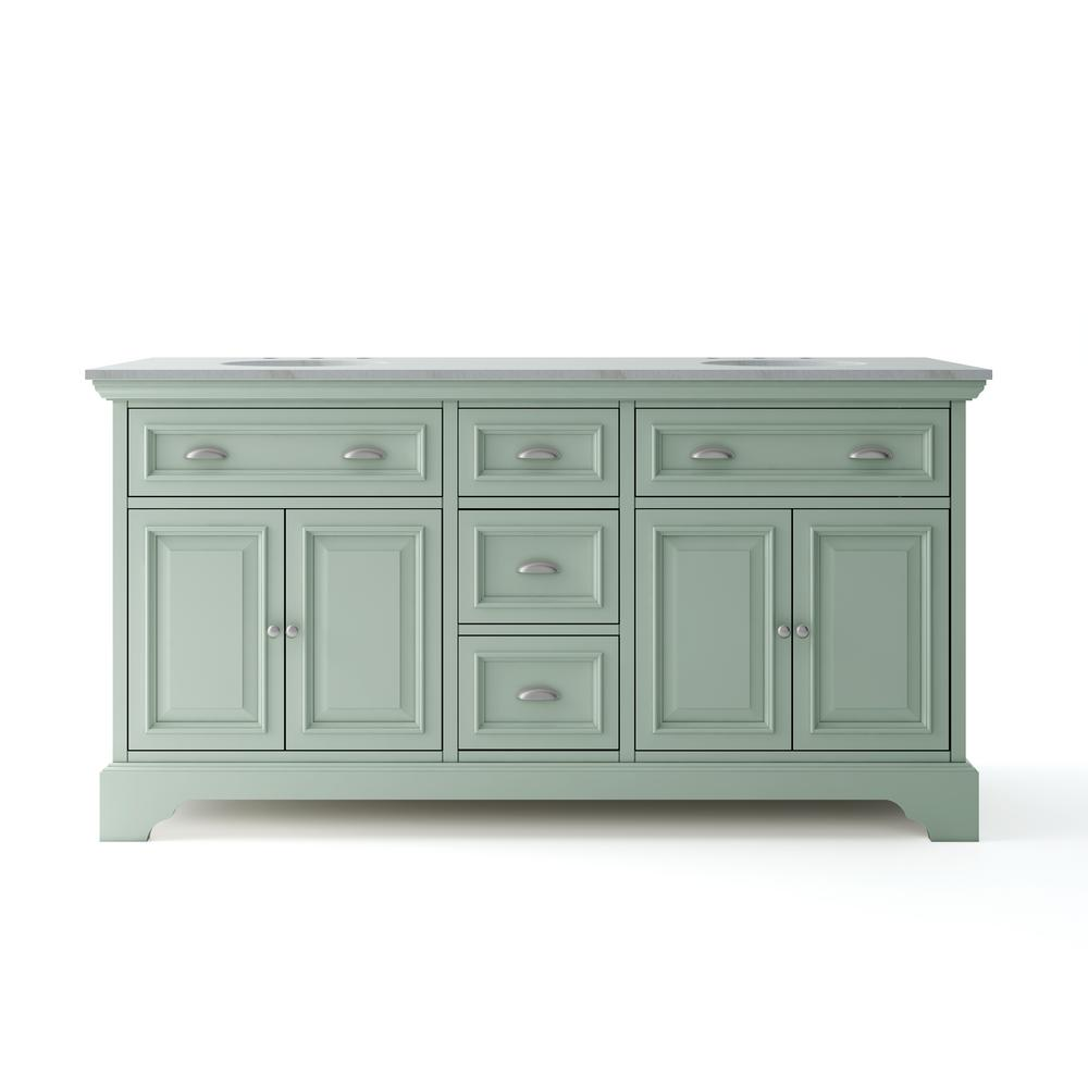 Home Decorators Collection Sadie 67 in. W x 21.5 in. D Vanity in Antique Light Cyan with Marble Vanity Top in Natural White with White Sinks was $1299.0 now $779.4 (40.0% off)