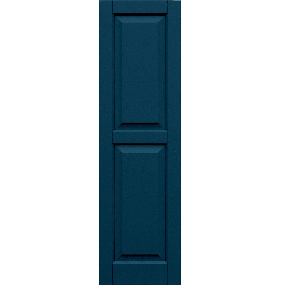 Winworks Wood Composite 15 in. x 52 in. Raised Panel Shutters Pair #637 Deep Sea Blue