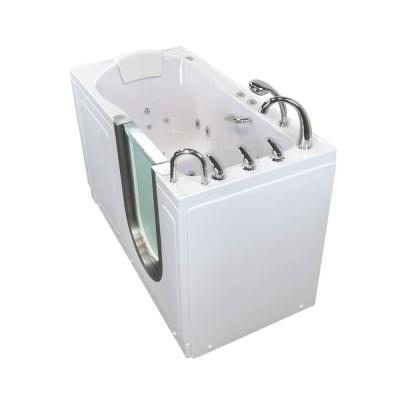 Deluxe 55 in. Acrylic Walk-In Whirlpool and Air Bath Bathtub in White, Fast Fill Faucet, Heated Seat, RHS Dual Drain