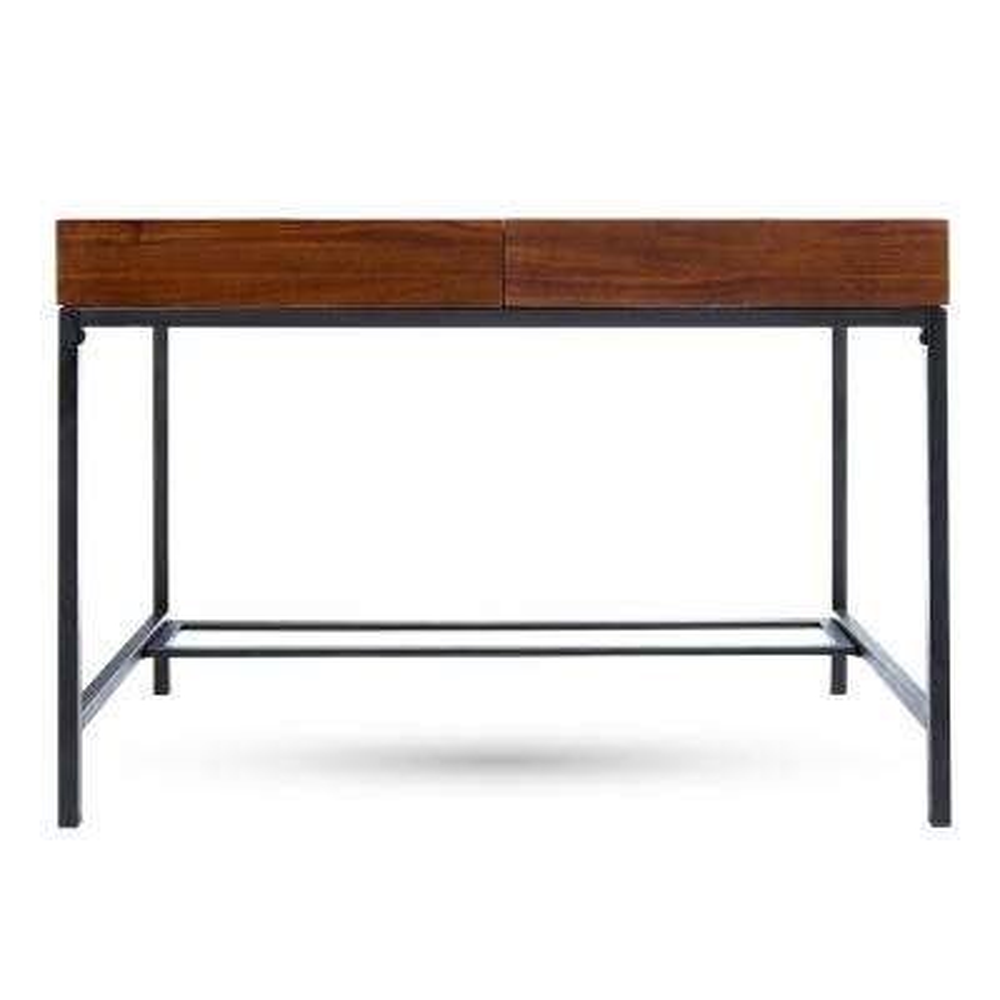 Ebany Industrial Dark Oak Brown Acacia Wood Storage Desk with Rustic Metal Frame