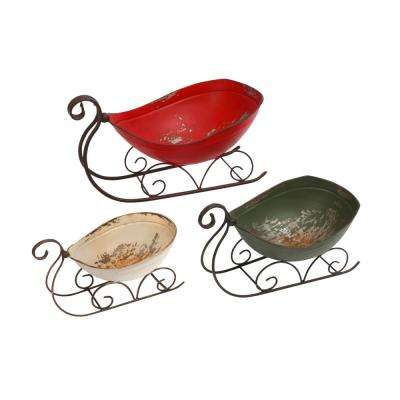 S/3 7 in. H Antiqued Metal Sleighs