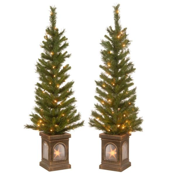 4 ft. Lehigh Valley Pine Entrance Tree in a Dark Bronze Urn with 50 Clear Lights (Set of 2)