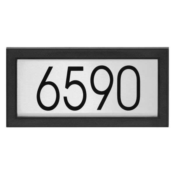Contemporary Rectangular Black and Stainless Steel Address Plaque