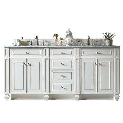 Bristol 72 in. W Double Bath Vanity in Cottage White with Soild Surface Vanity Top in Arctic Fall with White Basin