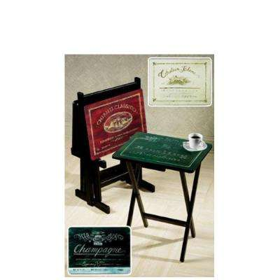 Wine Label Artistic TV and Snack Trays with Stand (Set of 4)