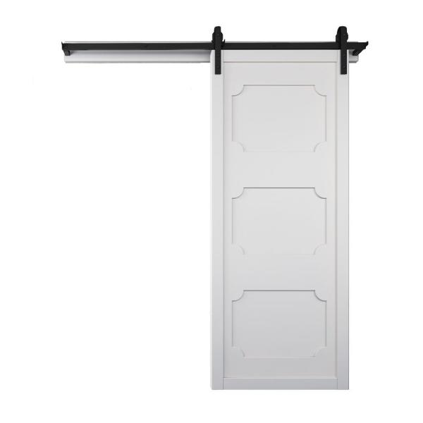 42 in. x 84 in. The Harlow III Bright White Wood Sliding Barn Door with Hardware Kit