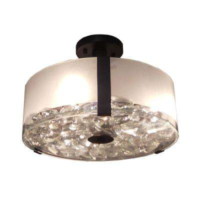 3-Light Ebony Bronze Semi-Flushmount
