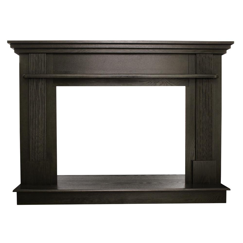 Cool Ashley Hearth Products 56 1 2 In X 40 1 2 In Wood Mantel In Black Walnut Download Free Architecture Designs Ferenbritishbridgeorg