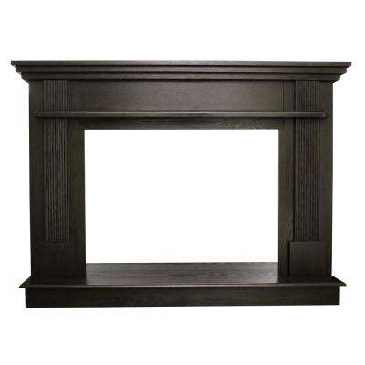 56-1/2 in. x 40-1/2 in. Wood Mantel in Black Walnut
