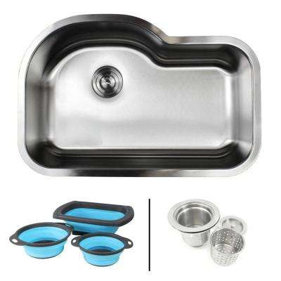 Undermount 16-Gauge Stainless Steel 31-1/2 in. Single Bowl Kitchen Sink in Sharp Satin w/ Collapsible Silicone Colanders