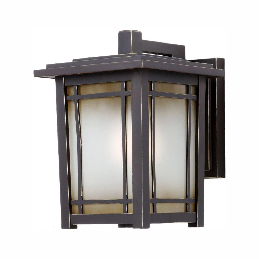 Home Decorators Collection Port Oxford 1-Light Oil Rubbed Chestnut Outdoor  Wall Lantern Sconce