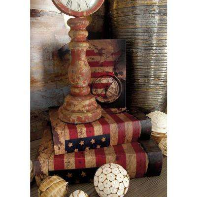 Vintage Rectangular Wood and Canvas American Flag Book Boxes (Set of 3)
