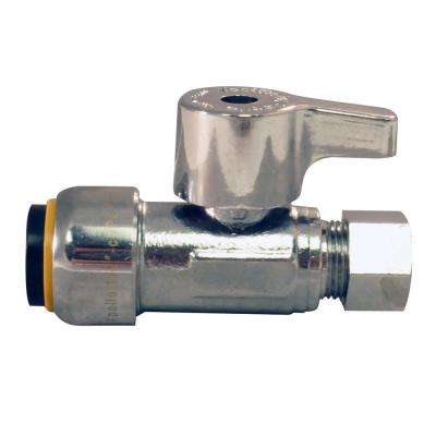 1/2 in. Chrome-Plated Brass Push-to-Connect x 3/8 in. O.D. Compression Quarter-Turn Straight Stop Valve