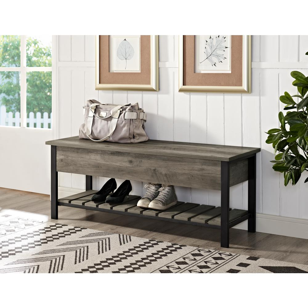 Walker Edison Furniture Company 48 In. Gray Wash Open Top Storage Bench  With Shoe