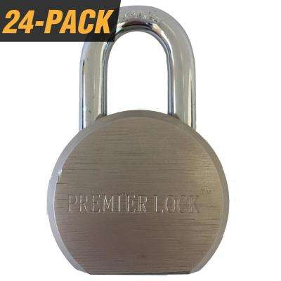 Premier Solid Steel Commercial Gate Keyed Padlock with Short Shackle and 72 Keys Total, (24-Pack, Keyed Alike)