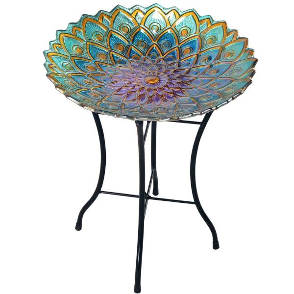 18 in. Glass Outdoor Fusion Mosaic Flower Birdbath with Stand