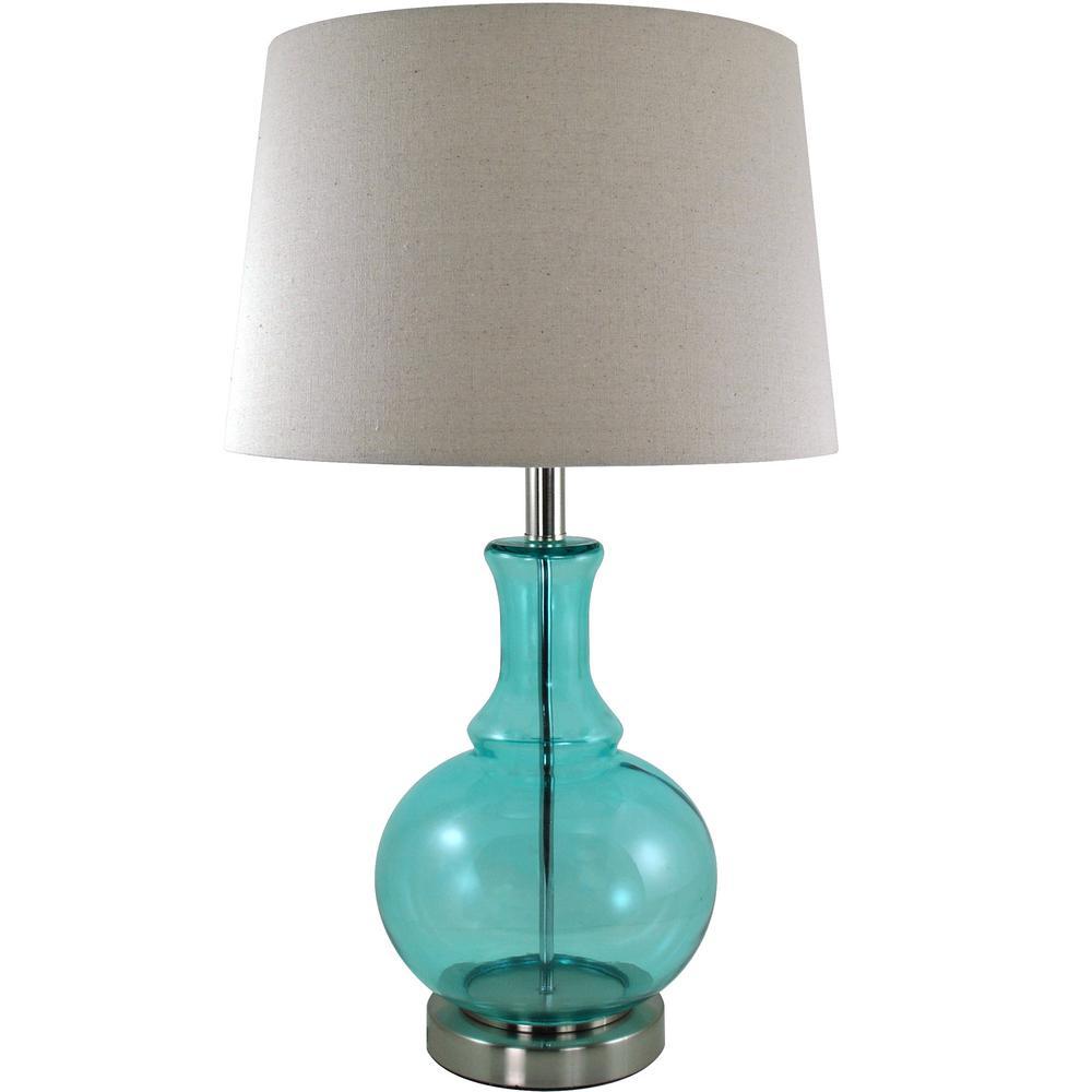 Ellis 26.5 in. Aqua Blue Gourd Table Lamp