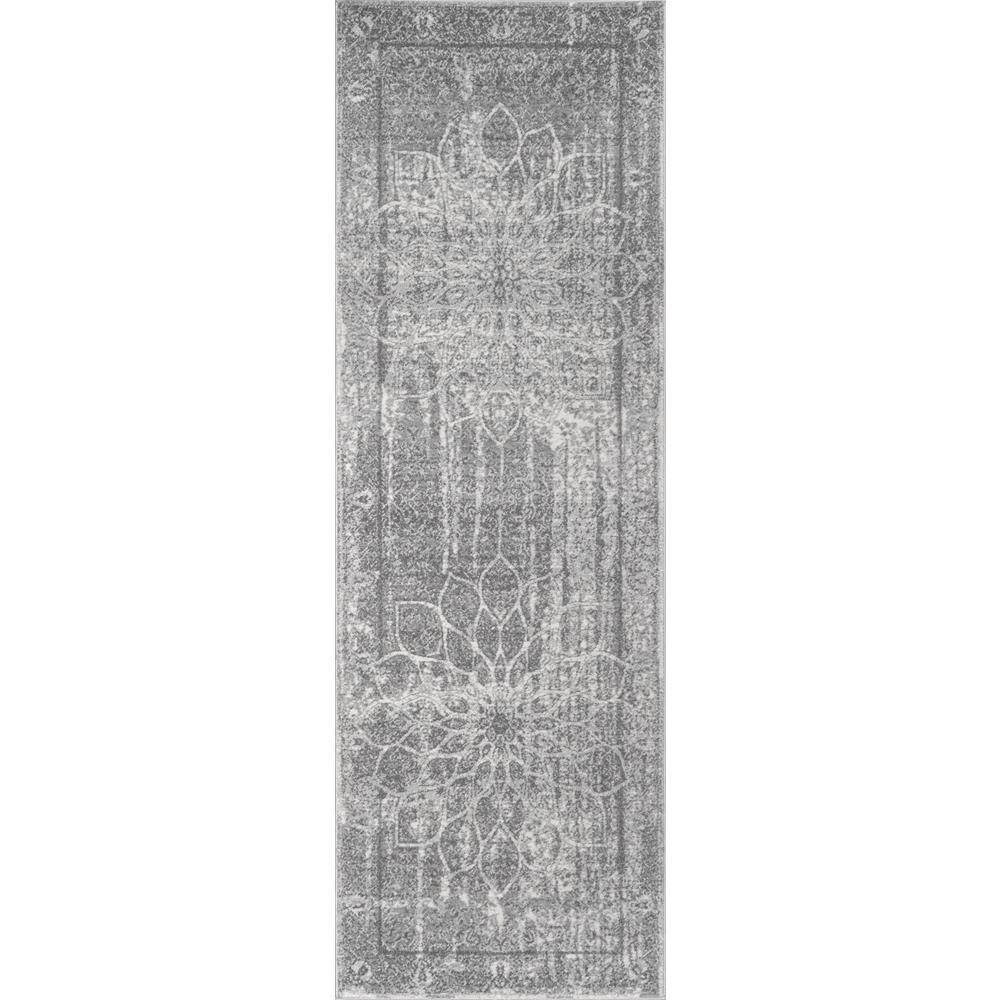 Roxane Faded Rosette Grey 2 ft. 8 in. x 8 ft. Runner Rug