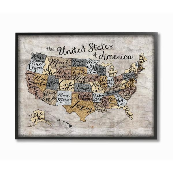 11 In X 14 In United States Map Typography Art By Erica Billups Wood Framed Wall Art