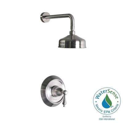 1-Handle Pressure Balanced Shower Faucet in Stainless Steel (Valve Included)
